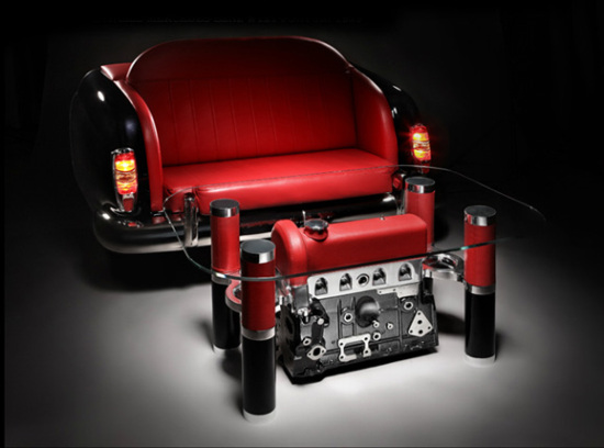 汽车零件组装而成的新奇家具