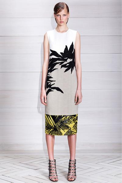 从经典的黑白到简单的树叶纹印花,单品的廓型,设计都以简约的线条为主