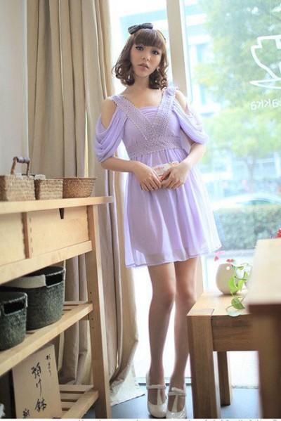淡紫色高腰雪纺裙