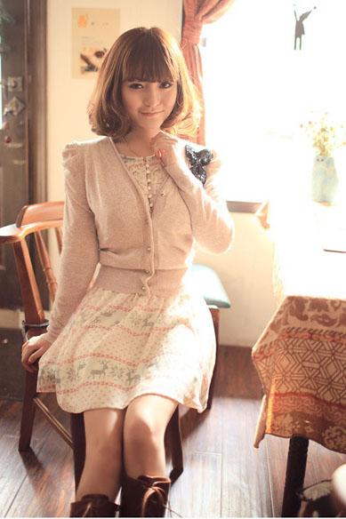 印花裙针织衫