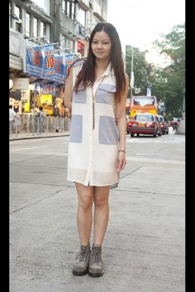 性拼接衬衫裙