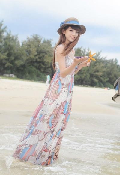 海边优雅印花裙